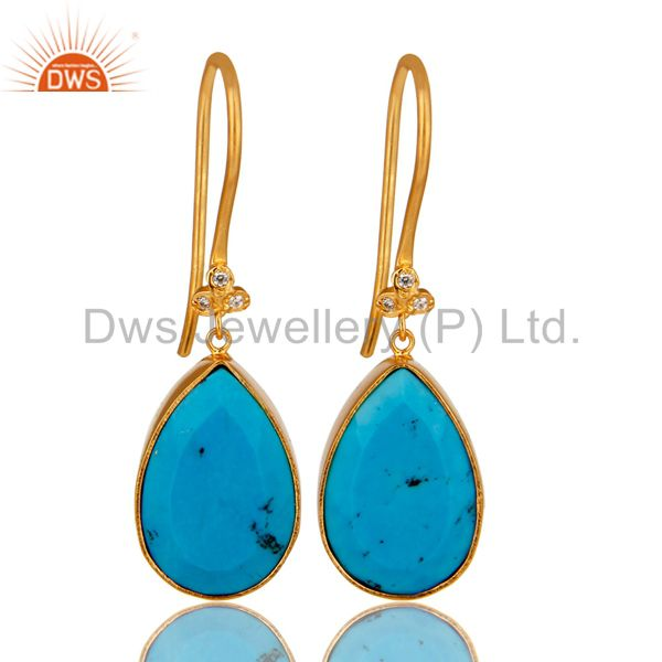 18K Yellow Gold Plated Brass Turquoise Bezel Set Dangle Earrings With CZ