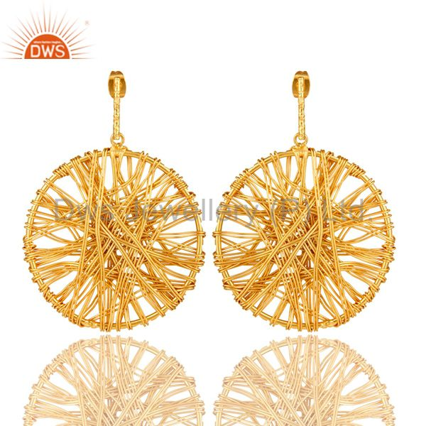 14K Yellow Gold Plated Lace Weave Disc Design Ciracle Dangle Earrings