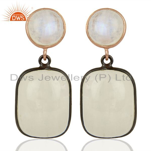 Rainbow Moonstone Designer Silver Gemstone Earrings Supplier Jewelry