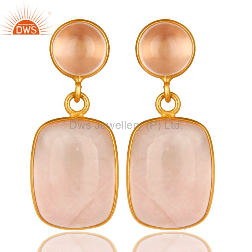 14K Yellow Gold Plated Sterling Silver Rose Quartz Bezel Set Double Drop Earring