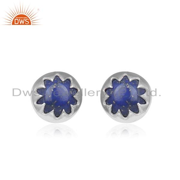 Designer Sterling Fine Silver Lapis Gemstone Stud Earrings Jewelry