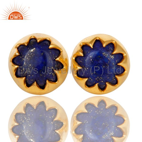 18K Yellow Gold Plated Sterling Silver Lapis Lazuli Gemstone Stud Earrings