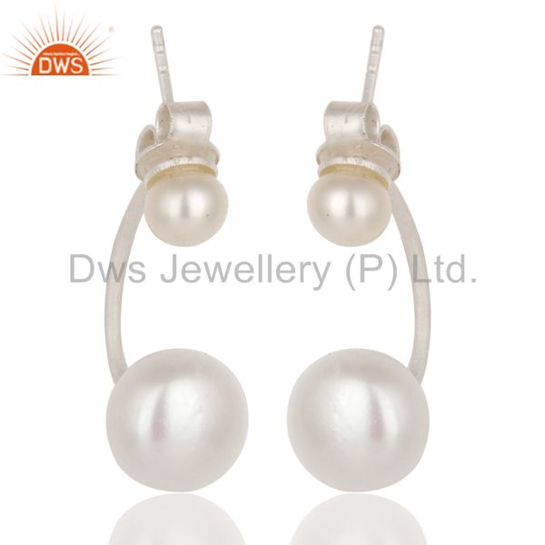 925 Sterling Silver White Pearl Post Stud Dangle Earrings