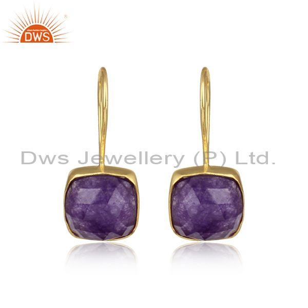Cushion Shaped Gold On Silver Amethyst Aventurine Earrings