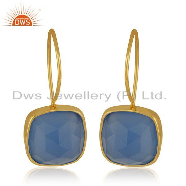 Blue Chalcedony Gemstone Yellow Gold Plated 925 Silver Earrings Wholesale INdia