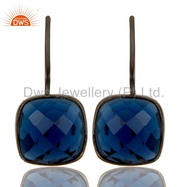 Oxidized Sterling Silver Sapphire Blue Corundum Gemstone Dangle Earrings