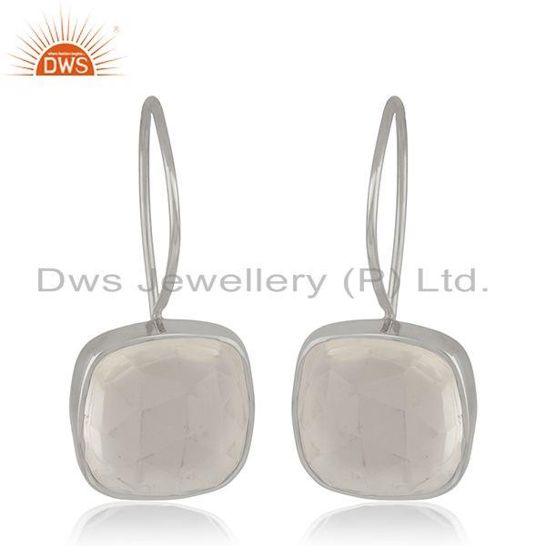 Crystal Quartz Sterling SIlver Simple Drop Earrings Wholesale