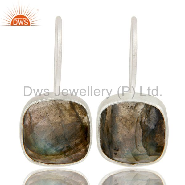 Handmade Sterling Silver Faceted Labradorite Gemstone Dangle Earrings