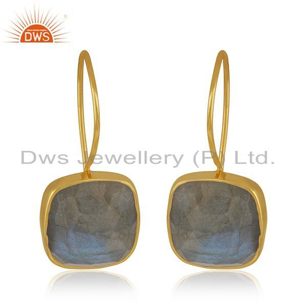Labradorite Gemstone 925 Silver Yellow Gold Plated Stud Earrings Manufacturer