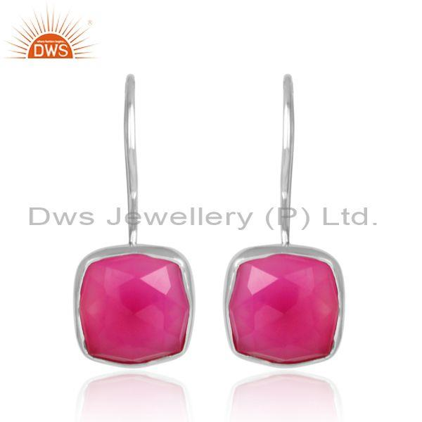 Pink Chalcedony Set White Rhodium On 925 Silver Earrings