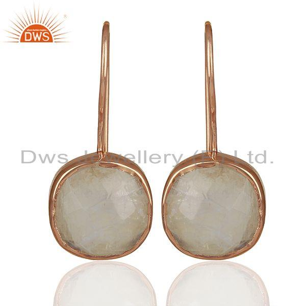 Rainbow Moonstone Rose Gold Plated 925 Silver Drop Earrings Jewelry