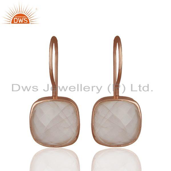 Rose Quartz Gemstone Rose Gold Plated Drop Earrings Manufacturer