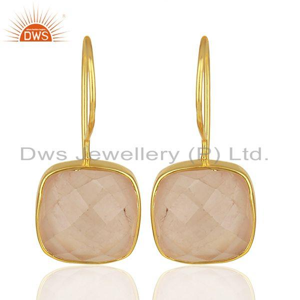 Rose Quartz Gemstone Yellow Gold Plated 925 Silver Earring Manufacture