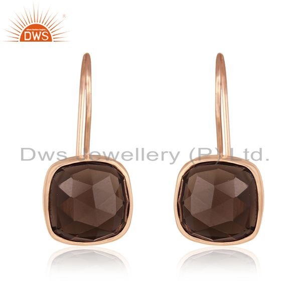 Rose Gold Plated 925 Silver Smoky Quartz Gemstone Drop Earrings Manufacturers