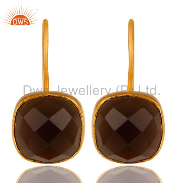 14K Yellow Gold Plated Sterling Silver Smoky Quartz Gemstone Dangle Earrings