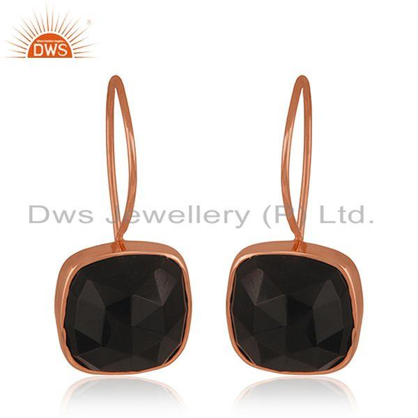 Black Onyx Gemstone Rose Gold Plated 925 Silver Drop Earring Manufacturer Jaipur