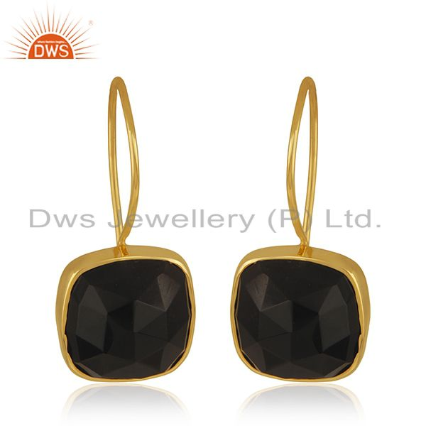 Black Onyx Gemstone 925 Sterling Silver Gold Plated Drop Earrings Wholesale
