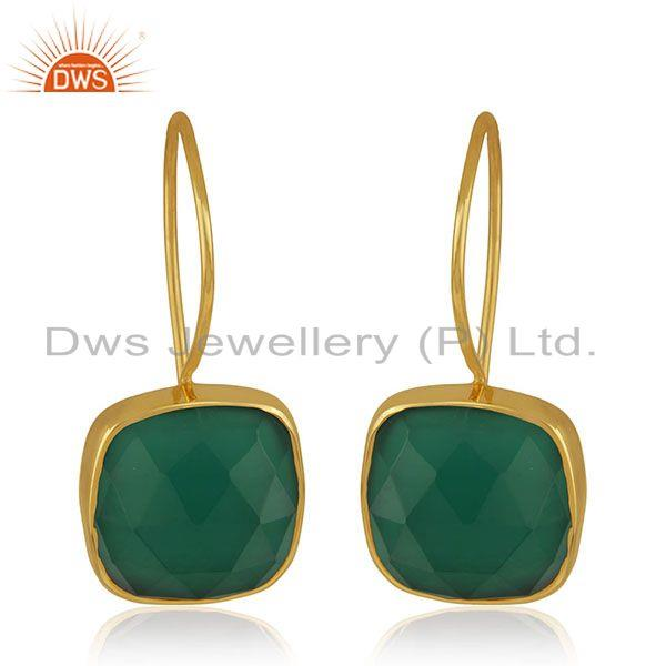 Green Onyx Gemstone 925 Silver Yellow Gold Plated Drop Earrings Manufacturer