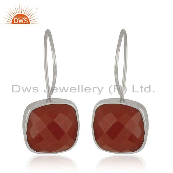 Red Onyx Gemstone 925 Sterling Silver Drop Earring Jewelry Manufacturer India