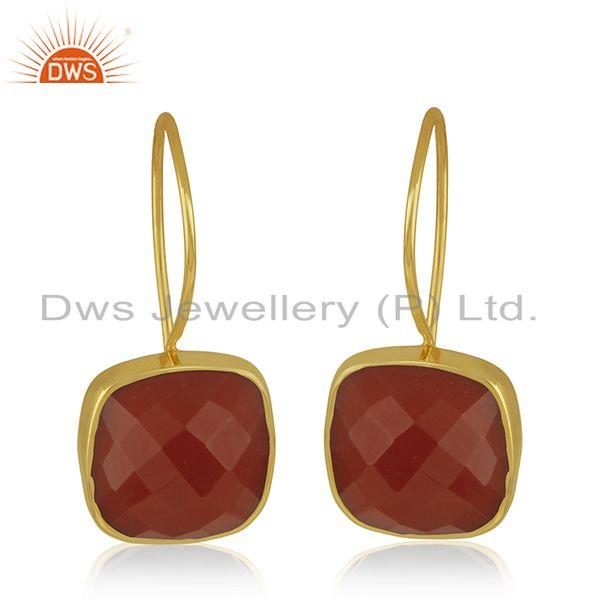 Red Onyx Gemstone 925 Sterling Silver Gold Plated Drop Earrings Manufacturer