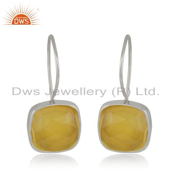 Handmade 925 Sterling Silver Yellow Chalcedony Gemstone Girls Earrings Wholesale