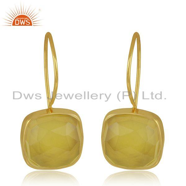 Handmade Gold Plated 925 Silver Yellow Chalcedony Gemstone Drop Earring Supplier