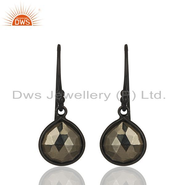 Bezel Set Hematitle Gemstone Handmade 92.5 Silver Drop Earring Jewelry