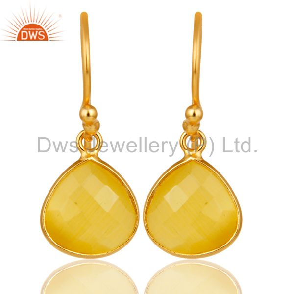 18K Gold Plated 925 Sterling Silver Faceted Moonstone Bezel Set Dangle Earrings