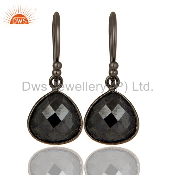 Natural Hematite Gemstone Oxidized Sterling Silver Teardrop Earrings