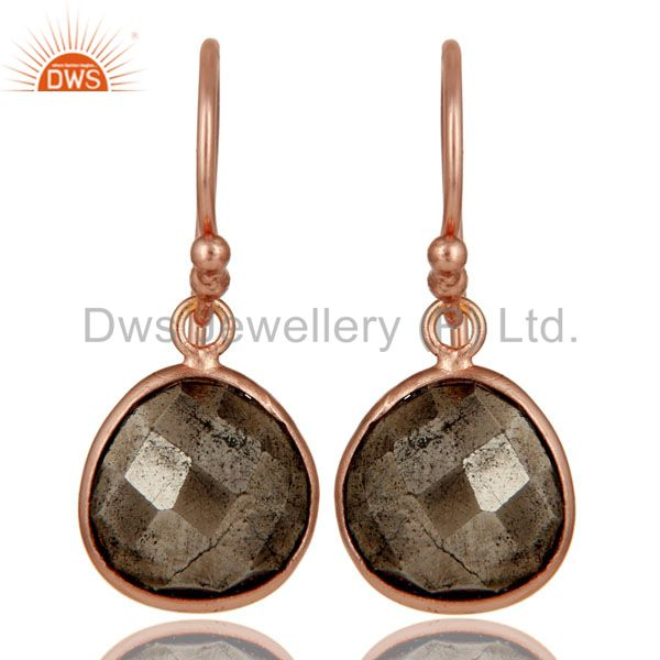 18K Rose Gold Plated Sterling Silver Faceted Pyrite Bezel Set Dangle Earrings
