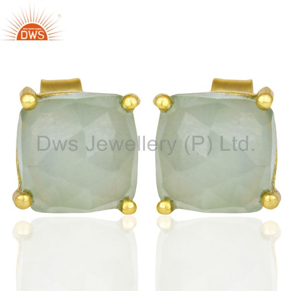 14K Yellow Gold Plated 925 Sterling Silver Aqua Chalcedony Stud Earrings