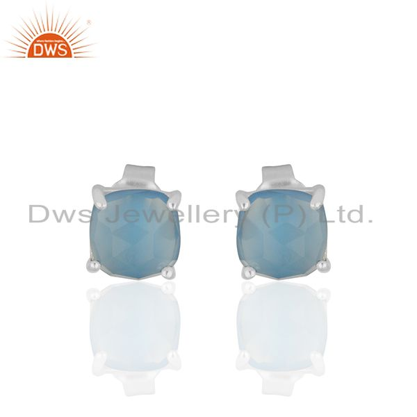 Prong Set Blue Chalcedony Gemstone 925 Silver Stud Earrings Manufacturer