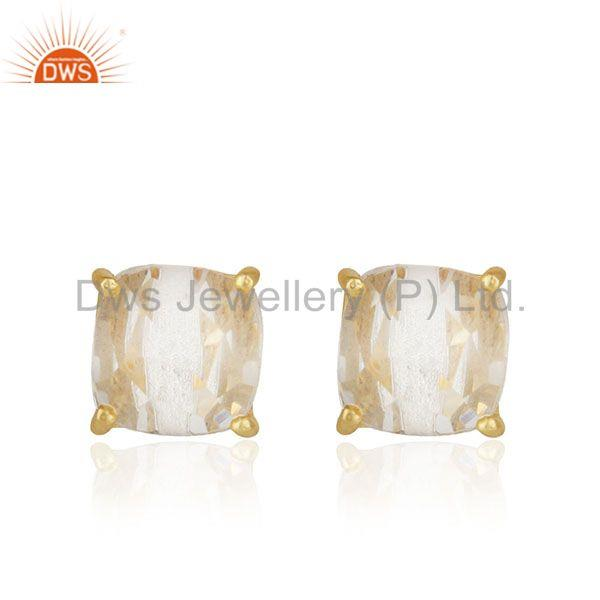 Crystal Quartz Prong Setting Gemstone Gold Plated Silver Stud Earrings