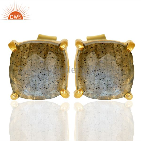 14k Yellow Gold Plated 925 Sterling Silver Labradorite Earring Jewelry