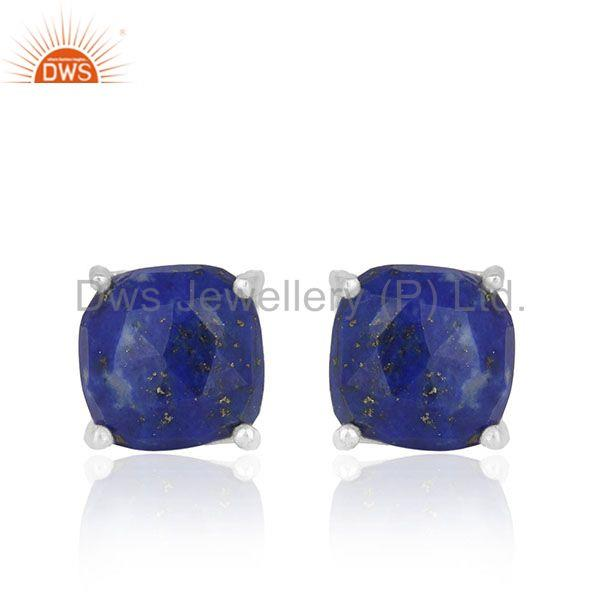 Lapis Lazuli Gemstone 925 Silver Handmade Custom Stud Earrings Manufacturer
