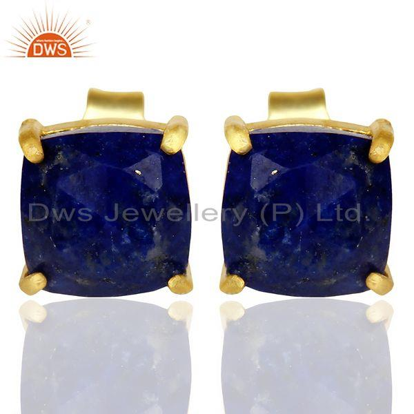 14k Yellow Gold Plated 925 Sterling Silver Lapis Lazuli Stud Earring Jewelry