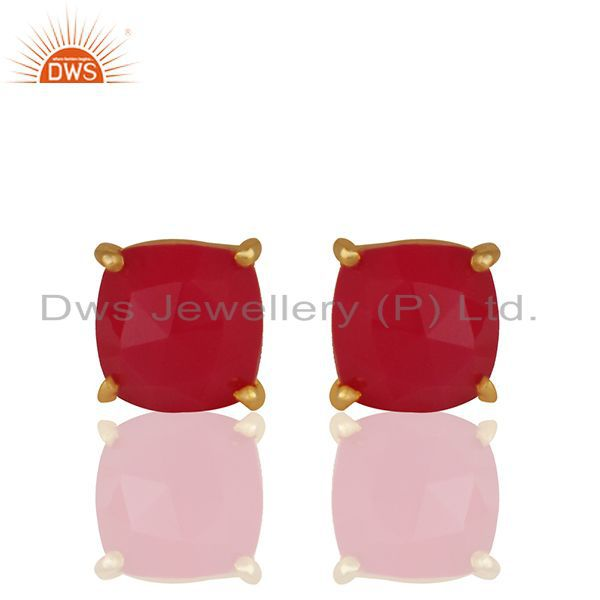 Pink Chalcedony Gemstone 925 Silver Gold Plated Stud Earring Wholesale