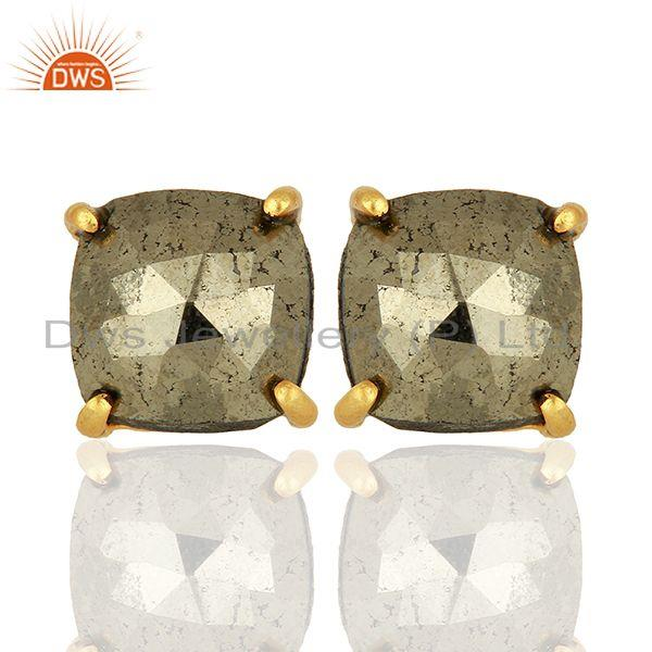 Gold Plated Pyrite Gemstone Stud Earrings Jewelry Wholesale Supplier