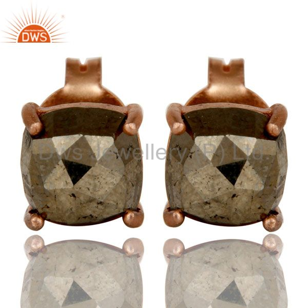 18K Rose Gold Plated Sterling Silver Pyrite Gemstone Prong Set Stud Earrings