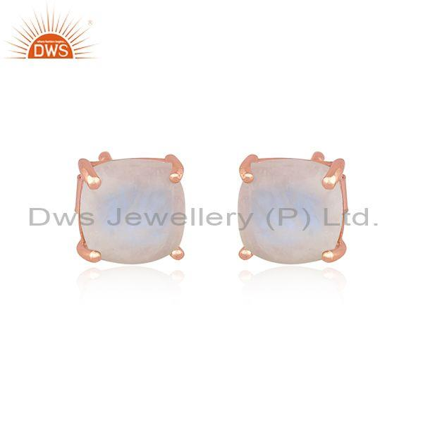 Rainbow moon stone set rose gold on silver square earrings