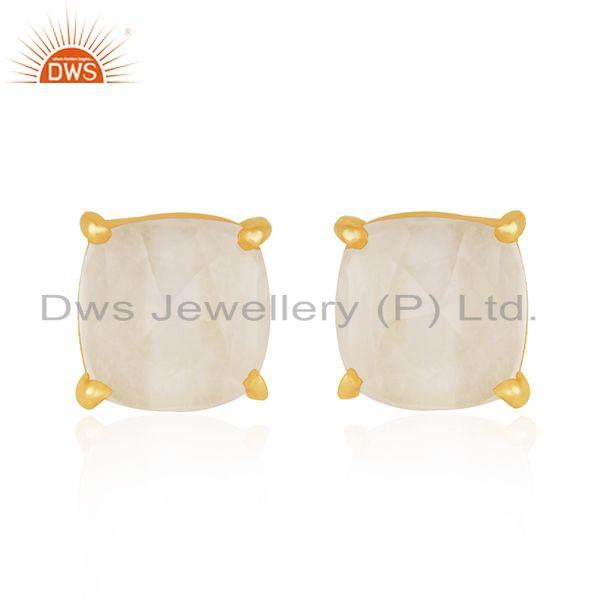 Rose Quartz Gold Plated 925 Silver Rose Quartz Gemstone Stud Earring Wholesale