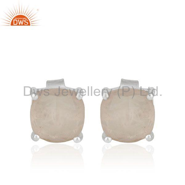 Rose Chalcedony Gemstone Fine Sterling Silver Prong Set Stud Earrings Suppliers
