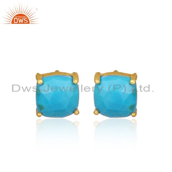 Turquoise Set Gold On 925 Sterling Silver Statement Earrings