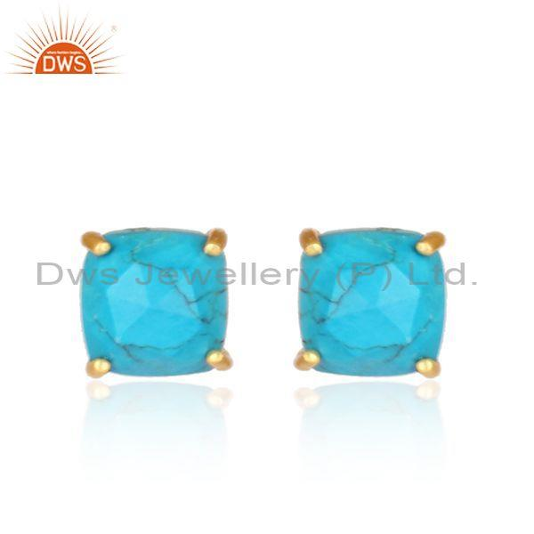 Turquoise gold on silver square shaped tiny stud earrings