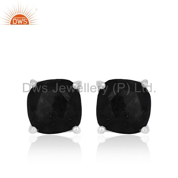 Prong Setting Black Onyx Gemstone 925 Silver STUD Earrings Jewelry MANUFACTURER