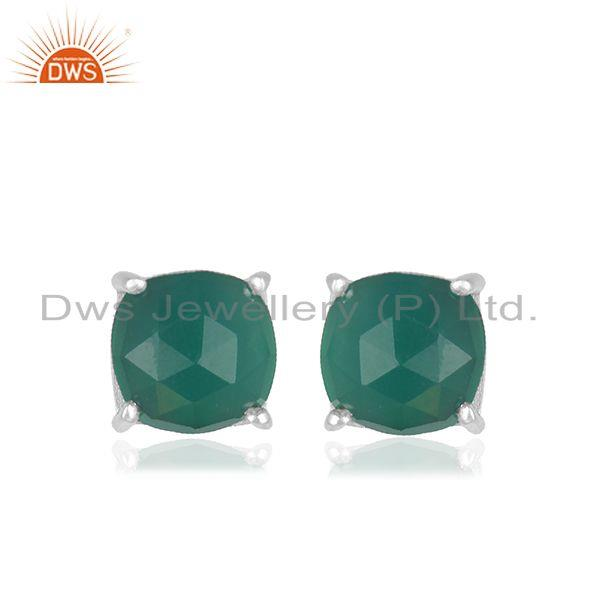 Green Onyx GEmstone Fine Sterling 92.5 Silver Stud Earrings for Girls Jewelry