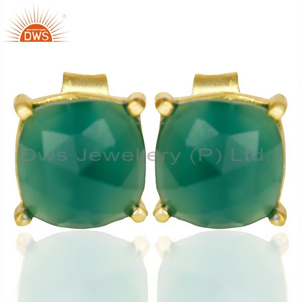 Green Onyx Rose Cut Stud Earring With 14K Gold Over Sterling Silver