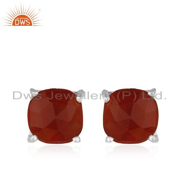 Handmade Prong Set Red Onyx Gemstone 925 Silver Girls Stud Earring Wholesale