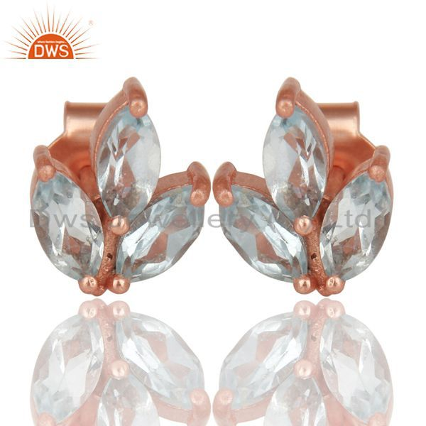 14K Rose Gold Plated 925 Sterling Silver Prong Set Blue Topaz Studs Earrings