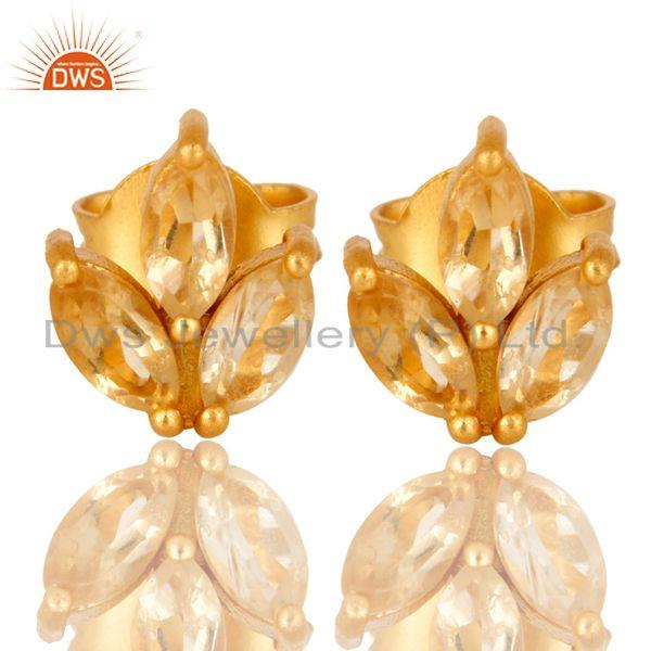 18K Yellow Gold Plated Sterling Silver Citrine Prong Set Gemstone Stud Earrings